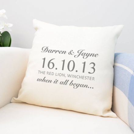 Personalised 'When It All Began' Cushion